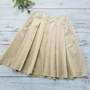 Banana Republic Pleated Mid Khaki Skirt